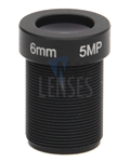 6.0mm, F1.8, 5MP M12 Mount CCTV Lens